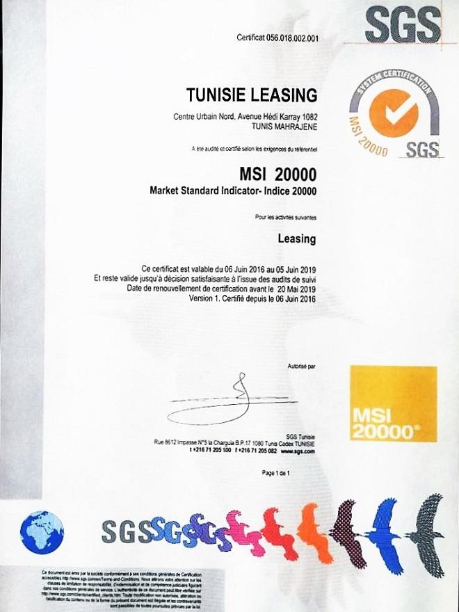 - Certificat SGS-SGS-délivre-la-certification-MSI-20000®-à-Tunisie-Leasing