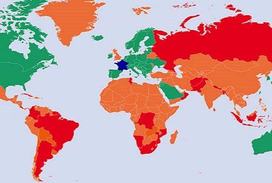 """Dernière liste des pays classés """"rouge, orange et vert"""", établie au 31 juillet en fonction du Covid-19e (détails & dispositions à prendre)"""