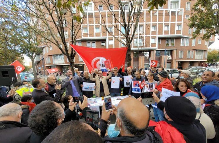 Manifestation contre Kais Saïed devant le consulat de Tunisie à Pantin