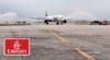 Tunis Carthage (14h05) : bien arrosé et affichant complet, le Boing 777 d'Emirates Airlines a inauguré de nouveau la destination Dubai